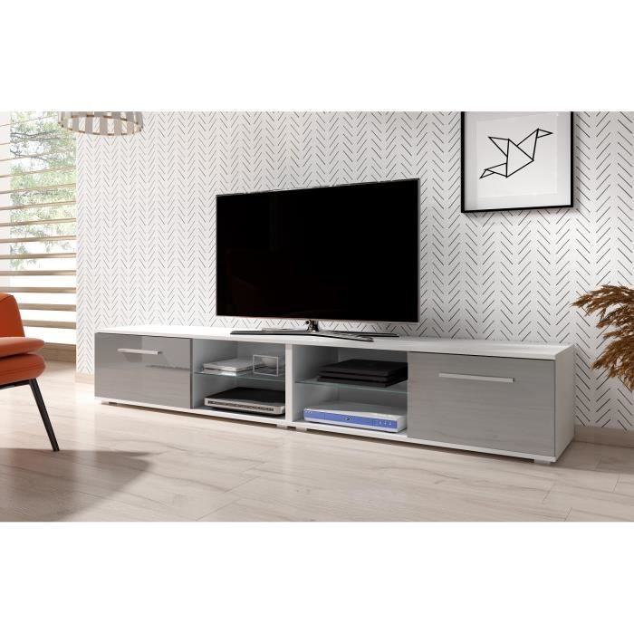 3xeLiving Meuble TV moderniste Punes blanc / gris brillant 200 cm