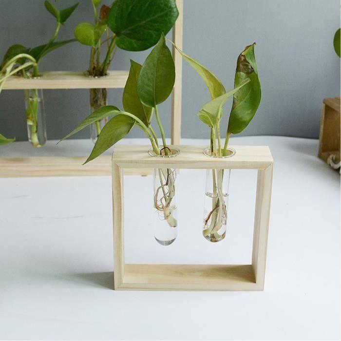 Bureau en Verre Pot de Fleurs Plante Pour Terrarium Avec Support En Bois Porte Vase Hydroponique Plantes Vase Transparente S Ve30356