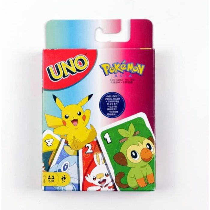Jeux de Société,Mattel jeux UNO Pokemon épée & bouclier jeu de carte divertissement en famille amusant Poker - Type UNO Pokemon