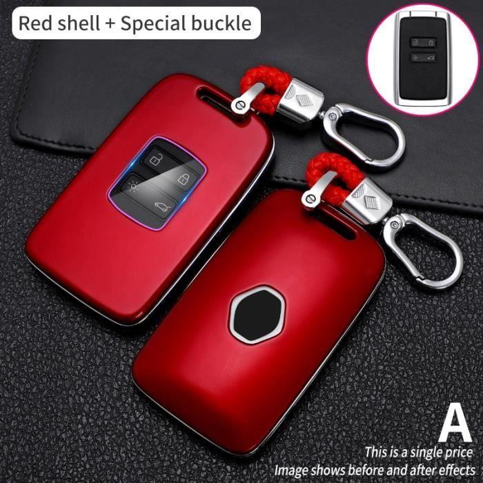 Coque clé,Étui pour clé télécommande en Fiber de carbone, pour voiture Renault Megane Koleos, Kadjar, Talisman - Type Rouge