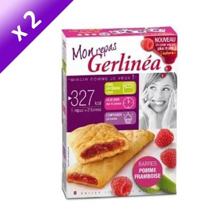 [LOT DE 2] GERLINEA Barres substitut de repas fourrées pomme et framboise - 360 g