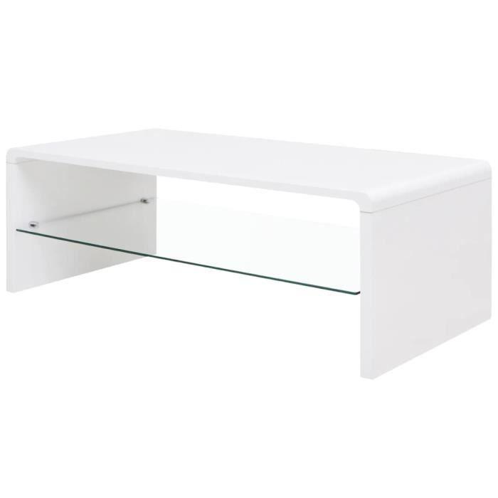 Table basse brillante Blanc PFDM + verre trempé -ALA