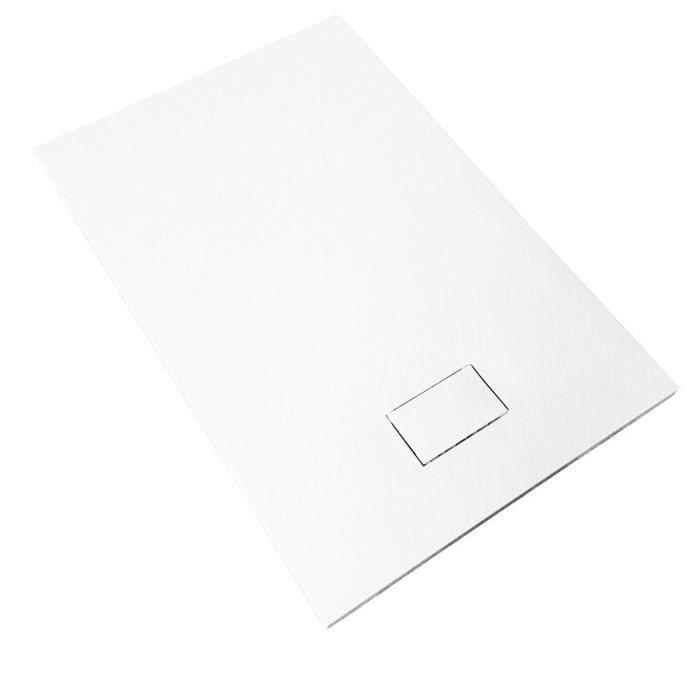 Receveur de douche extra plat PIATTO en SoliCast® 90x90 surface ardoisée, blanc Blanc