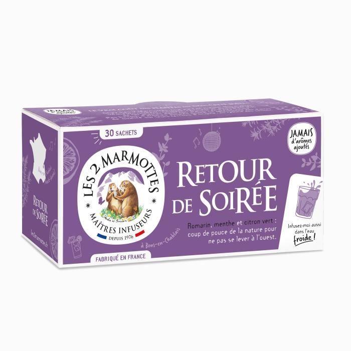 Les 2 Marmottes - Infusion Retour de Soirée BIO - 30 sachets - Romarin, menthe et citron - Fraiche et Revigorante