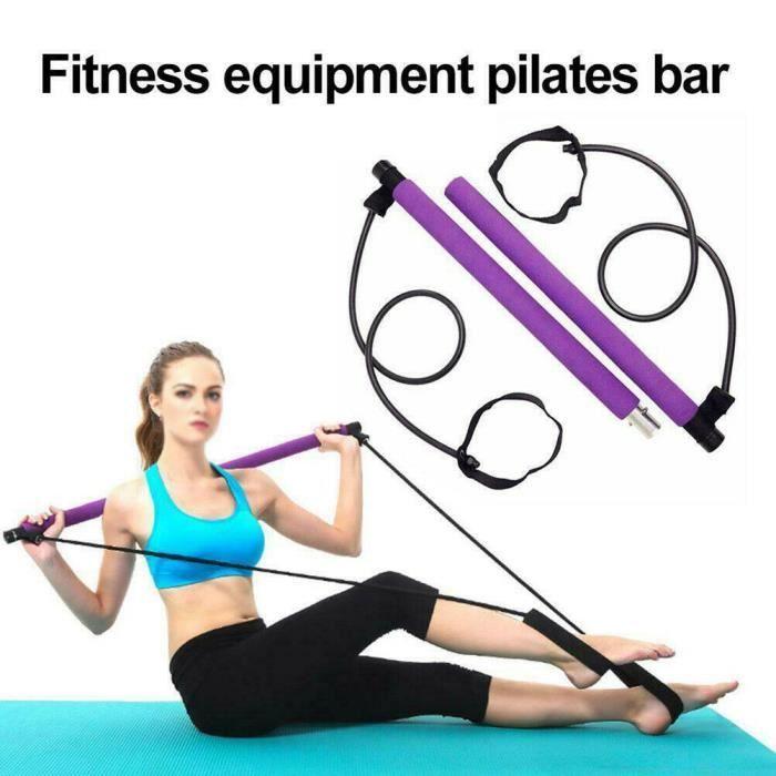 Kit de Barre de Pilates Portable avec Bande de Résistance, Longue Barre de Résistance-Bâton de Yoga-Barre d'Exercice Violet