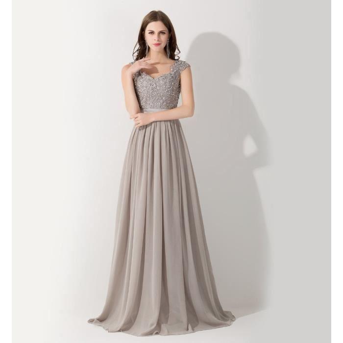 Robe de soirée-mère de la mariée longue du plancher mousseline de soie dentelle petites mancherons dos nu perles p…