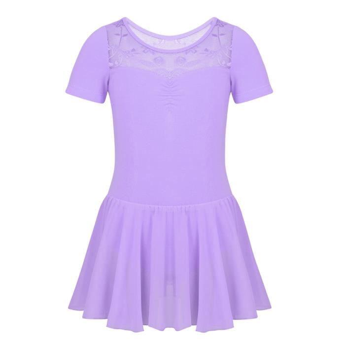 Justaucorps de Danse Classique en Mousseline de Soie Dentelle Dancewear Leotard 2-12 Ans Violet
