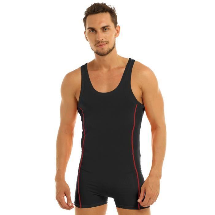 Combinaison Homme Sexy Sous-vêtements Sport Fitness Slim Fit Singulet Jumpsuit Boxer M-XL Noir