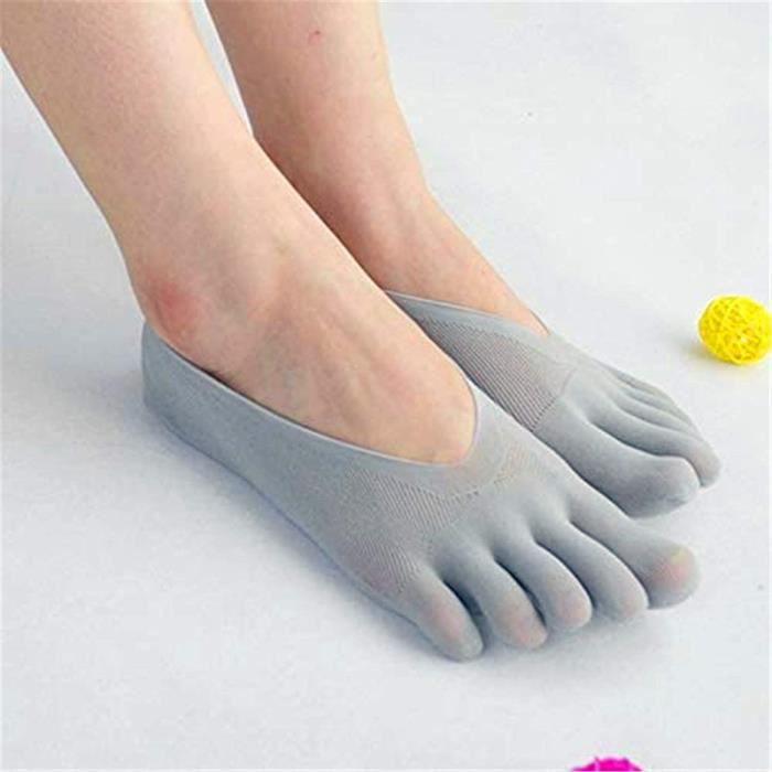 5 Pairs Chaussettes de compression orthopédiques pour femme - Chaussettes ultra basses avec languette en gel - Respirantes (Gris)