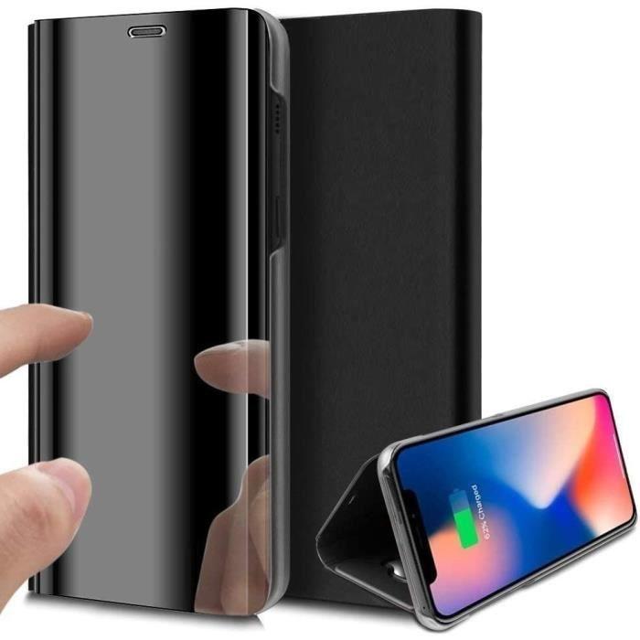 Coque iPhone 11 Rabat Transparent Support Noir