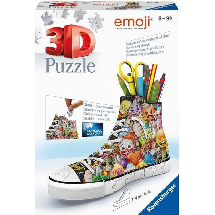 Puzzle 3D Sneaker - emoji - Ravensburger - Puzzle 3D enfant - sans colle - Pot à crayons 108 pièces - Dès 8 ans