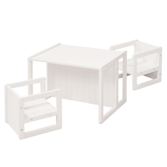 ROBA Ensemble table et 2 chaises pour enfant - 2 tabourets et un banc