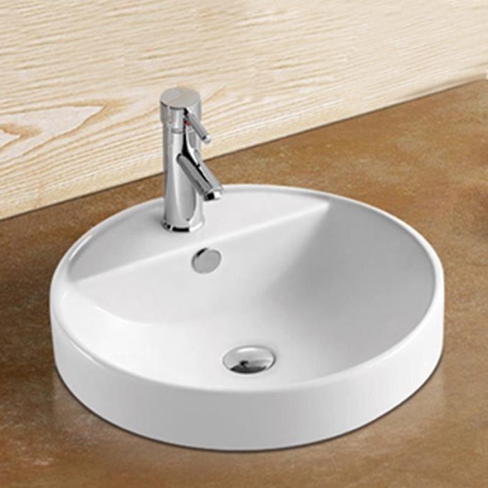 Vasque Semi Encastrable Ronde - Céramique - 47 cm - Ego