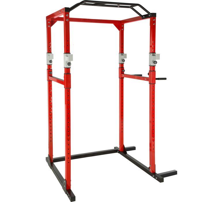 TECTAKE Cage de Musculation Traction Squats Dips 4 Supports pour Haltères 120 cm x 140 cm x 215 cm Rouge