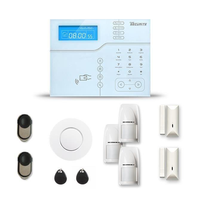 Alarme maison sans fil SHB V2 2 à 3 pièces mouvement + intrusion + détecteur de fumée - Avec GSM