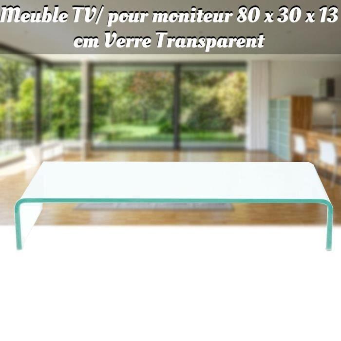 WIP Meuble TV/ pour moniteur Verre 80 x 30 x 13 cm Transparent Haute qualité -WIP-2