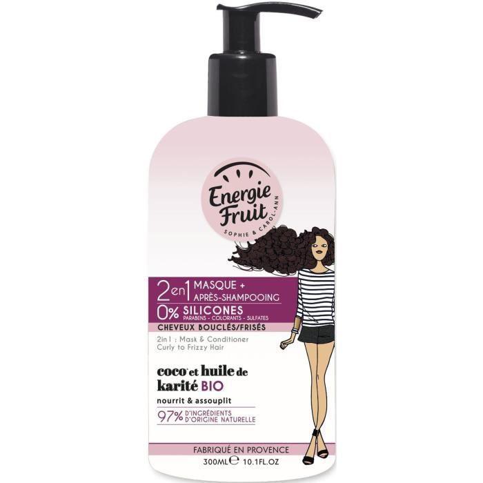 ENERGIE FRUIT Masque et après-shampoing pour cheveux bouclés ou frisés COCO et Huile de Karité - 300 ml