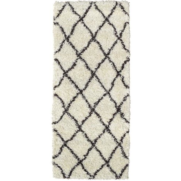 Asma Tapis De Couloir Shaggy Style Berbere 67 X 180 Cm Creme