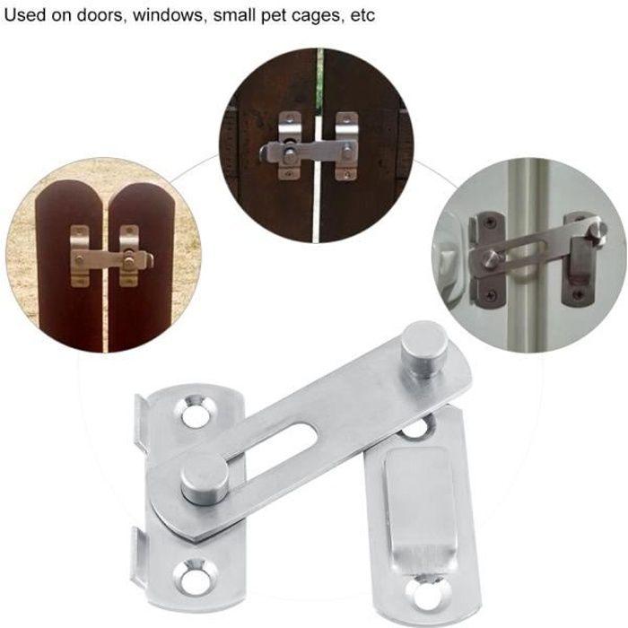 2x Loquet Serrures de porte protection pour portes plane Verrou en Acier Inox 2/'