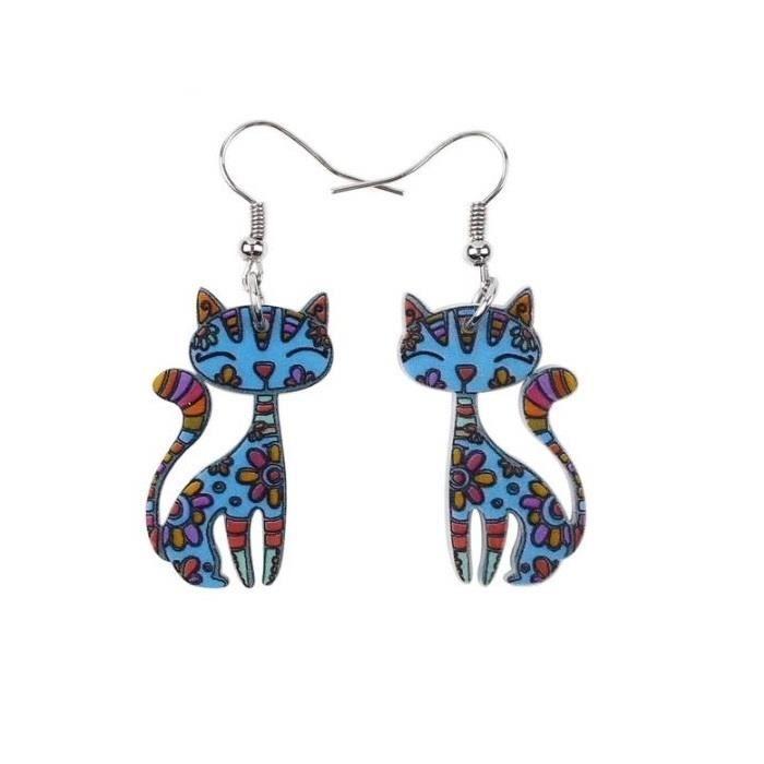 boucles d'oreilles fantaisie chat