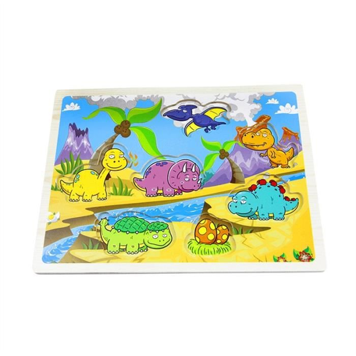 PUZZLE Puzzle Chunky en bois de dinosaure animal pour l'a