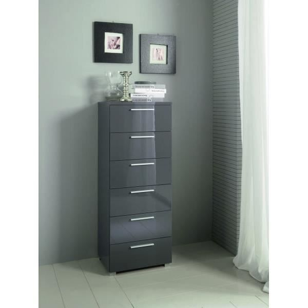 Commode moderne haute gris 6 tiroirs coco meuble house achat vente commode semainier for Commode moderne monsieur meuble