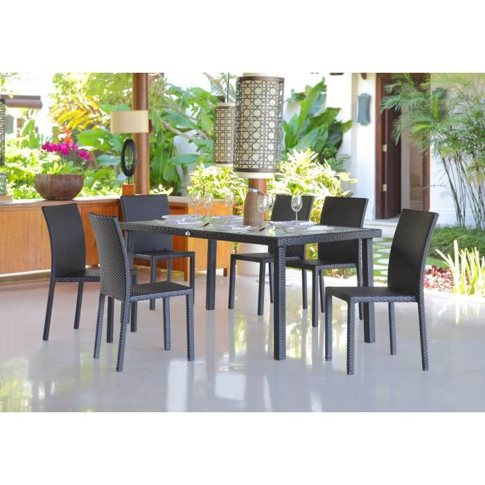 Table 180 cm 6 chaises alu et r sine tress e achat for Table chaise jardin resine tressee