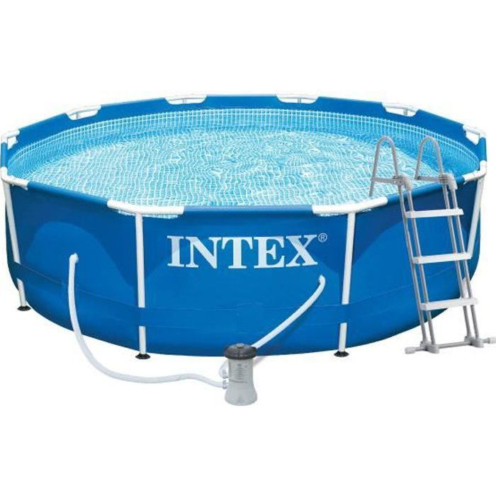 Intex metal frame piscine ronde tubulaire 3 66 x 0 99 m for Piscine ronde intex