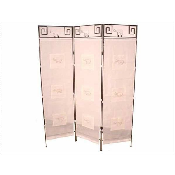 paravent fer forg et tissu el phant achat vente paravent soldes d t cdiscount. Black Bedroom Furniture Sets. Home Design Ideas