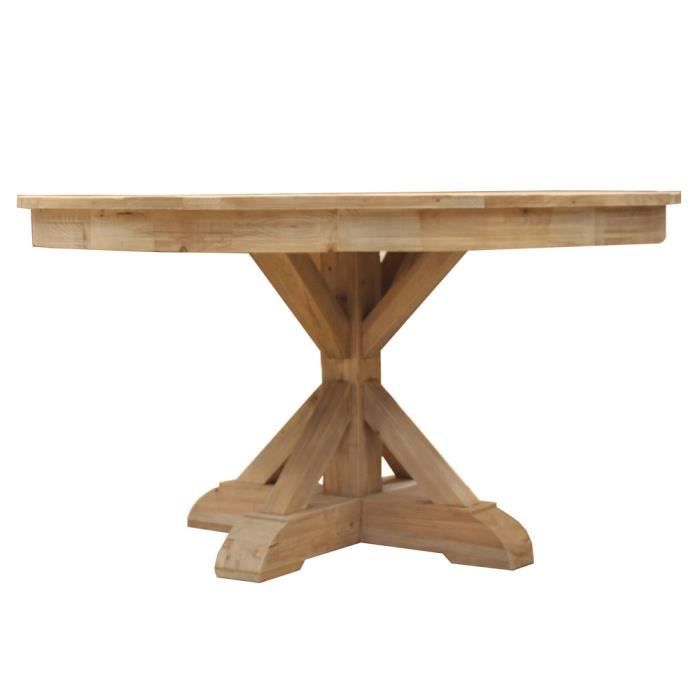 Table ronde pied central croisillon authentiq e achat vente table de cuisine table ronde - Table ronde rallonge pied central ...