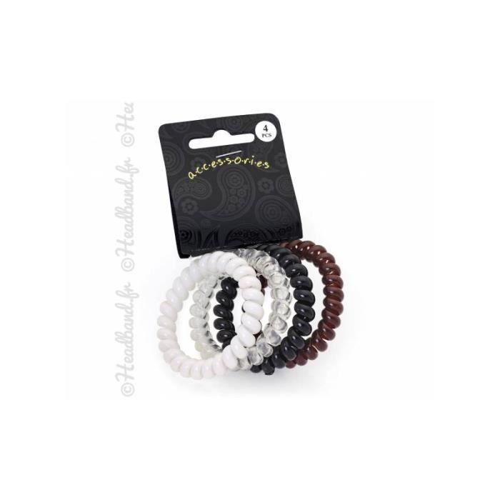 4er set câbles téléphoniques Chouchou noir élastique plastique-spirale