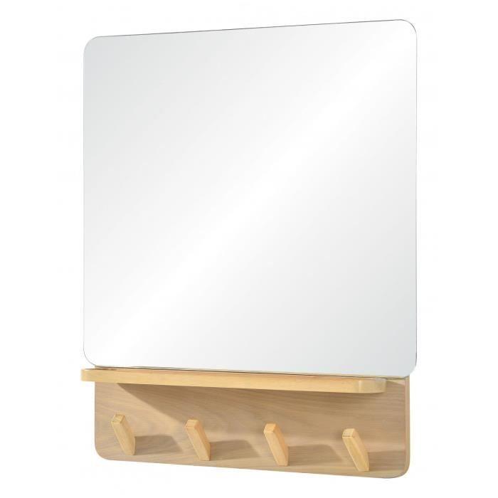 Miroir Mural avec Tablette et Patères Bois L70xH60 cm CANDI ...
