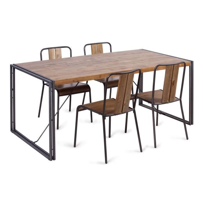 table manger 8 personnes 180x90 cm en m tal et mdf plaqu pin acacia et ch ne achat. Black Bedroom Furniture Sets. Home Design Ideas