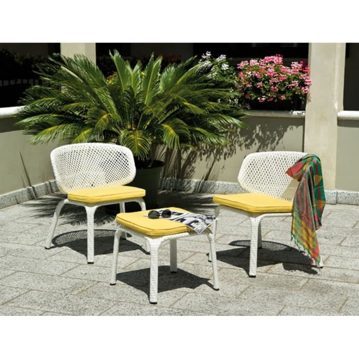 salon jardin de 2 fauteuils table avec coussins jaunes amovibles achat vente salon de. Black Bedroom Furniture Sets. Home Design Ideas