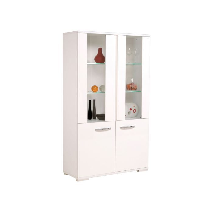 vitrine moderne 2 portes blanc brillant blanc m achat. Black Bedroom Furniture Sets. Home Design Ideas