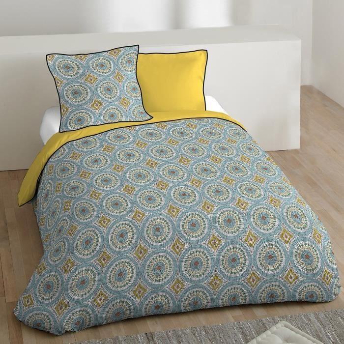 C/ôt/é D/éco Parure de lit avec Housse de Couette en Microfibre Bleu Canard 240x220 cm
