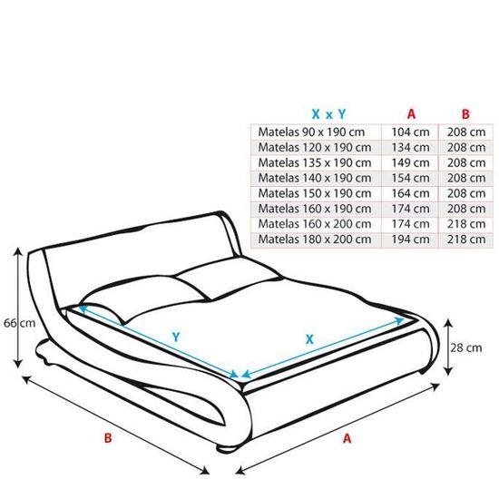 muebles bonitos Lit Double Moderne en Similicuir Alessia pour Matelas 150 x 190cm Noir avec sommier /à Lattes inclu
