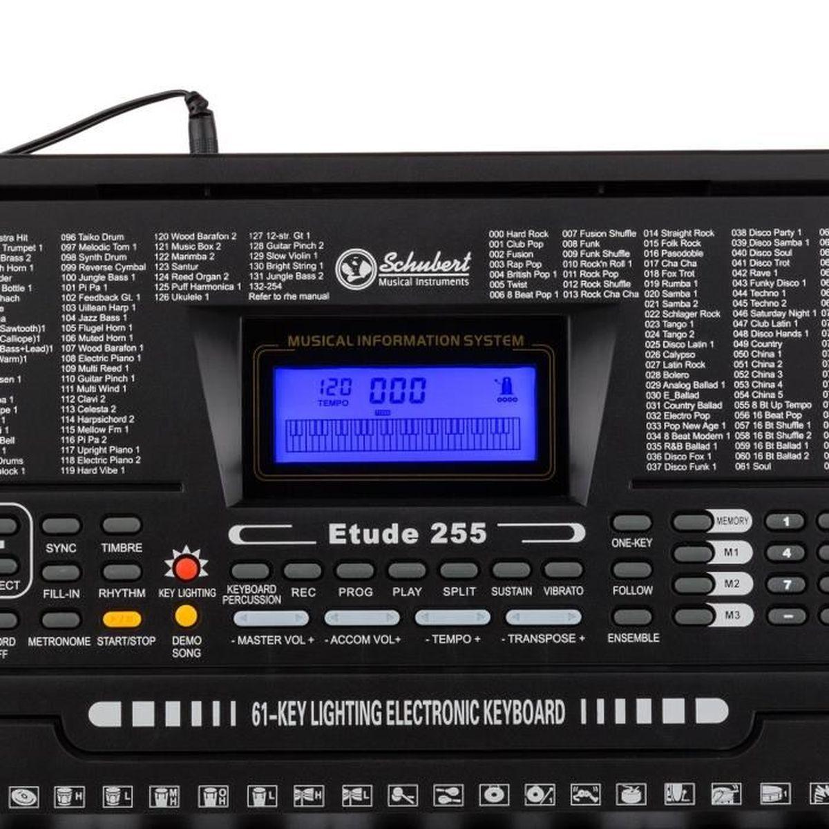 Schubert Etude 225 USB /• Synth/étiseur dapprentissage /• Casque 61 Touches MIDI LCD /• Fonctions Enregistrement et Playback /• Entra/înement avec 3 Modes dapprentissage /• Casque de Studio ferm/é Inclus