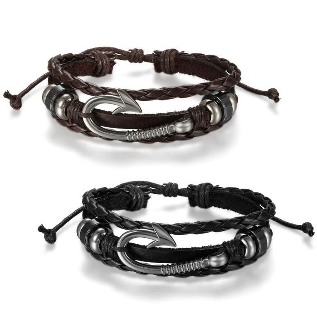 jewelrywe bijoux bracelet homme femme artisanal crochet hame on perle manchette r glable cuir. Black Bedroom Furniture Sets. Home Design Ideas