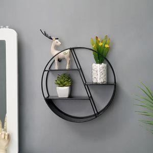 ETAGÈRE MURALE 1pcs Étagère Murale en métal Ronde Noir