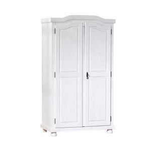 ARMOIRE DE CHAMBRE Armoire 2 portes en pin massif blanc - CHAMONIX