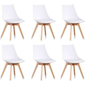 chaise lot de 6 chaises blanches scandinaves prague - Chaise Blanche Scandinave