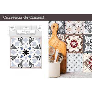 STICKERS Lot de 6 Stickers Carreaux de Ciment – Gris Motif