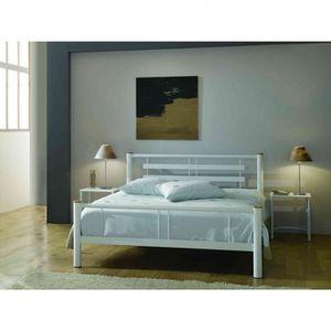STRUCTURE DE LIT Lit en métal blanc 160x200 - LT4004