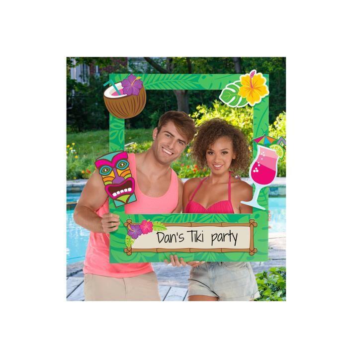 Kit 15 accessoires photobooth avec cadre personnalisable Tiki - Multicolore