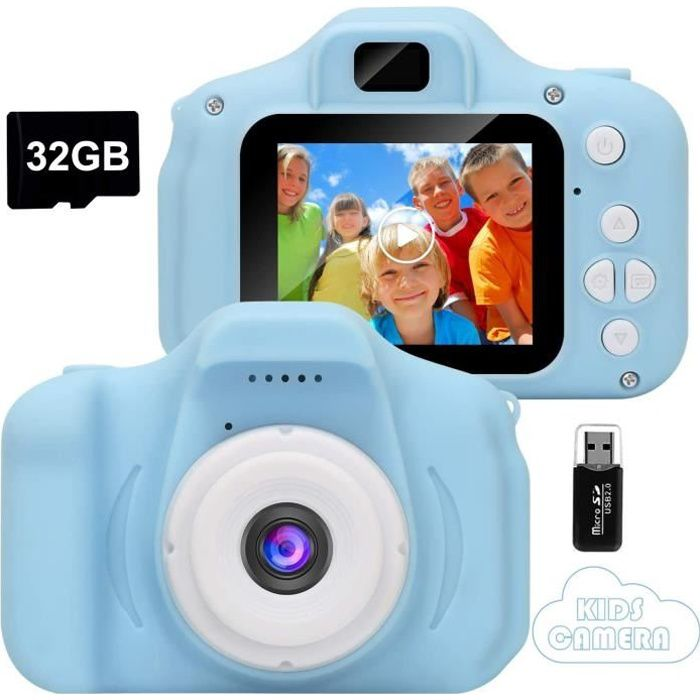 Appareil Photo pour Enfant, avec Carte TF 32 Go, Ecran à 2,0 Pouces HD, 8MP/1080P, Coque en Silicone Résistant aux Chocs, Bleu