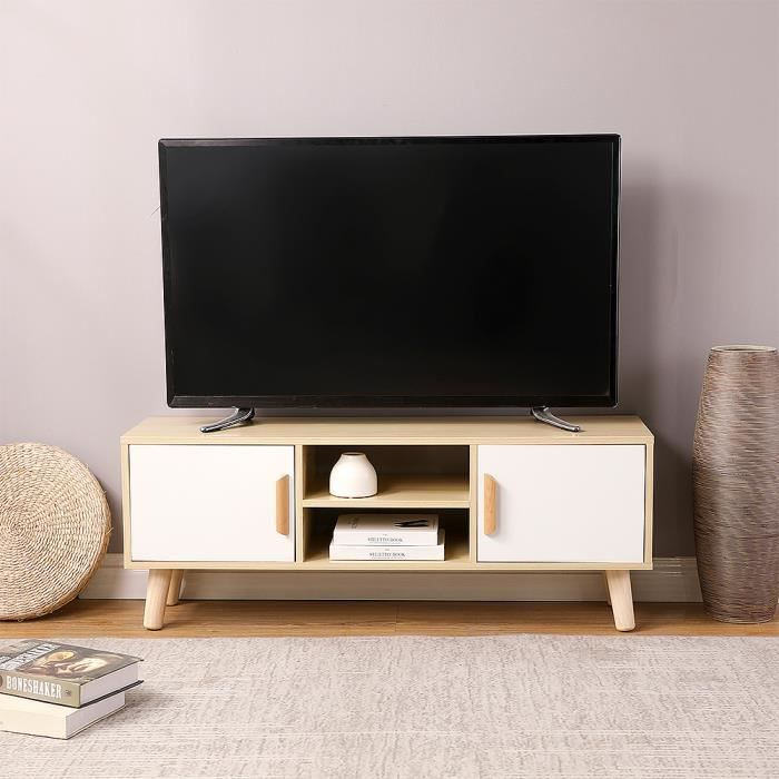 -Mixmest- Meuble TV Style Nordique Avec 2 armoires de rangement, L 110 cm, Pieds en Bois, Blanc + chêne