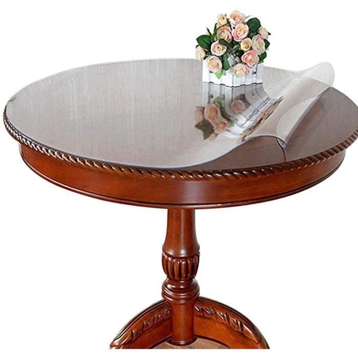 Ever Fairy Nappe de table ronde transparente en PVC imperm&eacuteable, protection imperm&eacuteable pour bureau, taille person540