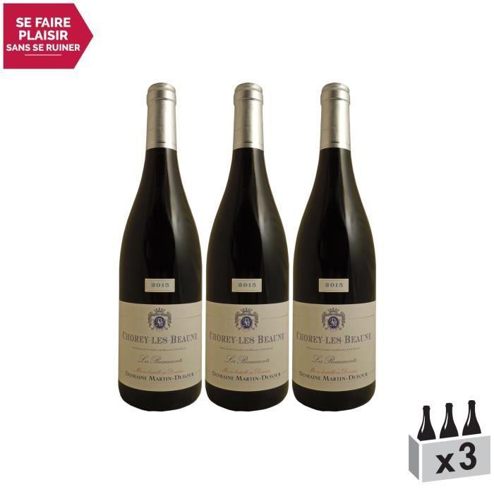 Chorey-lès-Beaune Les Beaumonts Rouge 2015 - Lot de 3x75cl - Domaine Martin-Dufour - Vin AOC Rouge de Bourgogne - Cépage Pinot Noir