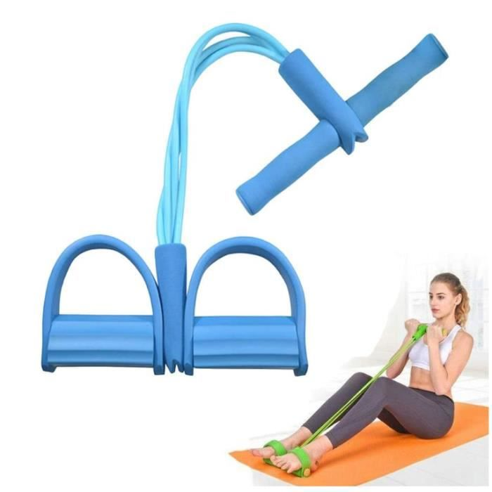 Corde De Tension Multifonctionnelle Résistance Formation 4 Tube Jambe Exerciseur Bande Pédale Équipement de Gym, Bleu
